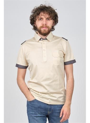 Arslanlı Arslanlı Erkek Cep Detaylı Polo Yaka T-Shirt  Bej